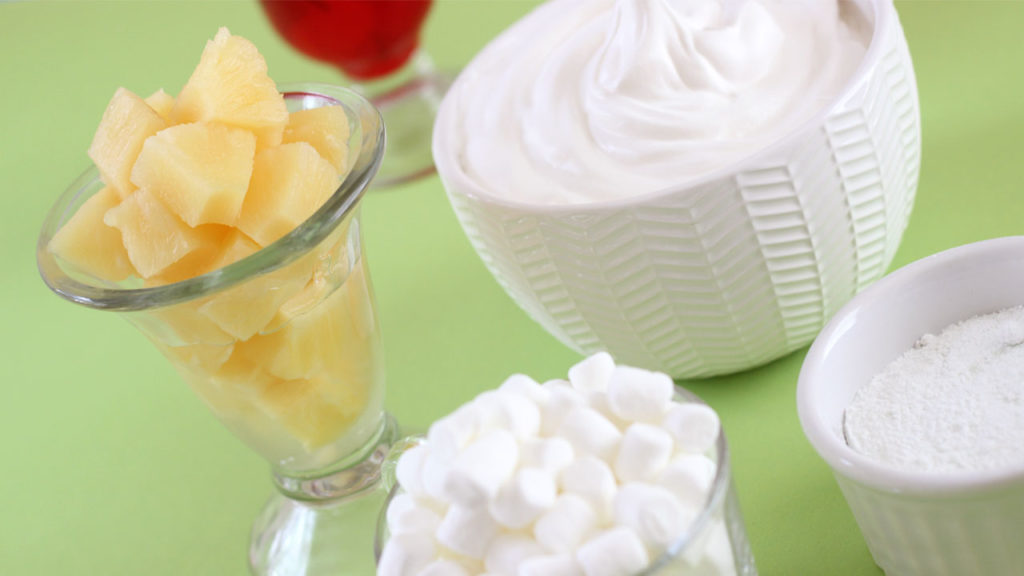 Pineapple and Whipped Cream for Pistachio Pudding Fruit Salad