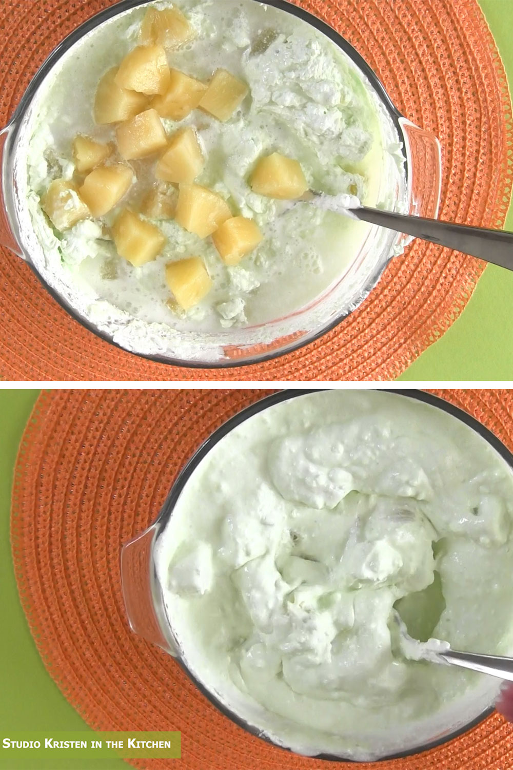 mixing pineapple into pistachio pudding fruit salad